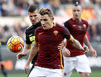 Calcio, Serie A: Roma vs Hellas Verona. Roma, stadio Olimpico, 17 gennaio 2016.<br /> Roma&rsquo;s Lucas Digne, right, is challenged by Hellas Verona&rsquo;s Pawel Wszolek during the Italian Serie A football match between Roma and Hellas Verona at Rome's Olympic stadium, 17 January 2016.<br /> UPDATE IMAGES PRESS/Isabella Bonotto