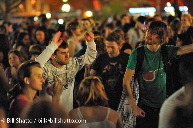 "A ""silent rave"" was held in New York City's Union Square on April 18, 2008. Participants danced to the beat of their own music."