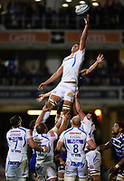 Sam Skinner of Exeter Chiefs reaches for the ball at a lineout. Gallagher Premiership match, between Bath Rugby and Exeter Chiefs on October 5, 2018 at the Recreation Ground in Bath, England. Photo by: Patrick Khachfe / Onside Images