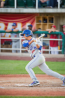 Reymundo Torres (18) of the Ogden Raptors at bat against the Orem Owlz in Pioneer League action at Home of the Owlz on June 20, 2015 in Provo, Utah.The Raptors defeated the Owlz 9-6. (Stephen Smith/Four Seam Images)