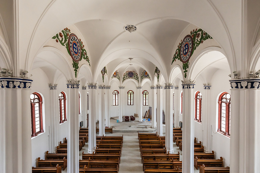 Interior Of The Roman Catholic Cathedral & Compound (1876, rebuilt 1888 after Sino-French War of 1884), Wenzhou (Wenchow).  This Is After Restoration in 2018, Although The Interior Had Not Quite Been Completed When We Visited.