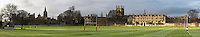 Panoramic of Merton College and the Oxford skyline across Merton College playing field, Oxford, Oxfordshire, Uk