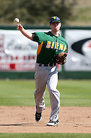 February 21, 2010:  Shortstop Mike Allen (8) of the Siena Saints during a game at Melching Field at Conrad Park in DeLand, FL.  Siena lost to Stetson by the score of 8-7.  Photo By Mike Janes/Four Seam Images