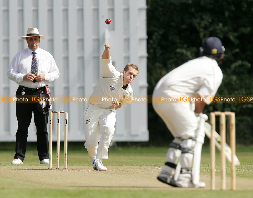R Harris of Chingford bowls to F Butt - Ardleigh Green CC vs Chingford CC - Essex Cricket League Cup Final at Brentwood CC - 27/08/07  - MANDATORY CREDIT: Gavin Ellis/TGSPHOTO - SELF-BILLING APPLIES WHERE APPROPRIATE. NO UNPAID USE. TEL: 0845 094 6026.