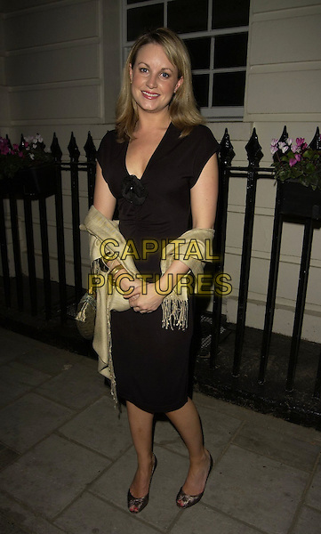 KIM MEDCALF.Hay Fever - press night at Theatre Royal, Haymarker, London, UK..April 20th, 2006.Ref: CAN.full length black wrap beige dress gold bracelets bangles.www.capitalpictures.com.sales@capitalpictures.com.©Capital Pictures