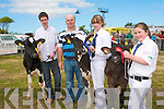 TOP HANDLERS: Winners of the Kerry Young Members Association Intermediate Handlers competition with their Holstein Friesian at the Kingdom County Fair on Sunday Jamie Egan, Ballyheigue (3rd place), Mervyn Kearney (Judge), Lauren Fitzmaurice, Ballyduff (2nd place) and 1st place Noiri?n Kennelly from Ardfert.