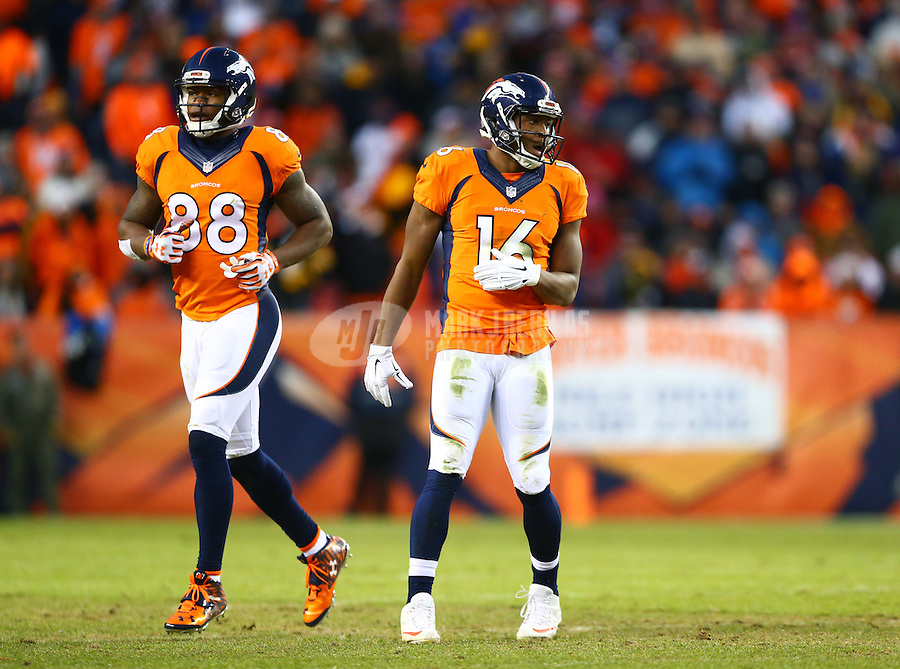 Jan 17, 2016; Denver, CO, USA; Denver Broncos wide receiver Demaryius Thomas (88) and wide receiver Bennie Fowler (16) against the Pittsburgh Steelers during the AFC Divisional round playoff game at Sports Authority Field at Mile High. Mandatory Credit: Mark J. Rebilas-USA TODAY Sports