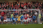 Fleetwood Town 1 Wrexham 1, 10/04/2012. Highbury Stadium, Football Conference Premier. The home team going close to opening the scoring in the first half as Fleetwood Town (in red) host Wrexham in a Blue Square Conference Premier match at Highbury Stadium. The match, between the top two teams in the division ended in a 1-1 draw watched by a near-capacity crowd of 4996. A victory for the hosts would have seen the club promoted to the Football League for the first time. Photo by Colin McPherson.