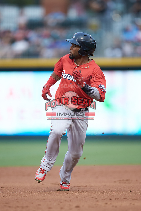 Aneury Tavarez (20) of the Pawtucket Red Sox hustles towards third base against the Charlotte Knights at BB&T BallPark on July 19, 2018 in Charlotte, North Carolina. The Knights defeated the Red Sox 4-3.  (Brian Westerholt/Four Seam Images)