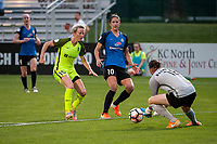 Kansas City, MO - Saturday June 17, 2017: Megan Rapinoe, Yael Averbuch, Nicole Barnhart during a regular season National Women's Soccer League (NWSL) match between FC Kansas City and the Seattle Reign FC at Children's Mercy Victory Field.