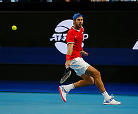 3rd January 2020; RAC Arena, Perth, Western Australia; ATP Cup Australia, Perth, Day 1, Russia versus Italy; Karen Khachanov of Russia plays a backhand shot from the baseline during his match against Stefano Travaglia of Italy - Editorial Use