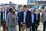 Former Olympian and now French Minister of Sports Laura Flessel and Tour Director Christian Prudhomme ASO in Compiegne before the start of the 116th edition of Paris-Roubaix 2018. 8th April 2018.<br /> Picture: ASO/Pauline Ballet | Cyclefile<br /> <br /> <br /> All photos usage must carry mandatory copyright credit (&copy; Cyclefile | ASO/Pauline Ballet)