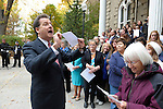 "Lt. Gov. Brian Krolicki talks to the crowd gathered on the Capitol steps Thursday, Oct. 30, 2014 before #NevadaSings!, a statewide sing-a-long of ""Home Means Nevada."" Approximately 370 people took part  in the Carson City portion of the event, which seeks to establish a new record for the most people in an American state to sing their state song at the same time."