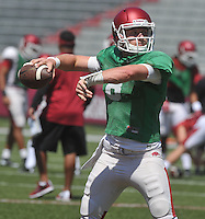 NWA Democrat-Gazette/MICHAEL WOODS &bull; @NWAMICHAELW<br /> University of Arkansas quarterback Austin Allen runs drills during practice Saturday, August 15, 2015 at Razorback Stadium in Fayetteville.
