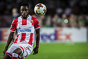 14th September 2017, Red Star Stadium, Belgrade, Serbia; UEFA Europa League Group stage, Red Star Belgrade versus BATE; Midfielder Guelor Kanga of Red Star Belgrade controls a high ball