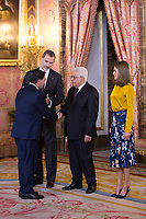 King Felipe VI of Spain (l) and Queen Letizia of Spain (r) receive Palestinian President Mahmoud Abbas. May 24 ,2017. (ALTERPHOTOS/Pool) /NortePhoto.com