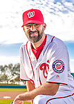 28 February 2016: Washington Nationals pitcher Burke Badenhop poses for his Spring Training Photo-Day portrait at Space Coast Stadium in Viera, Florida. Mandatory Credit: Ed Wolfstein Photo *** RAW (NEF) Image File Available ***