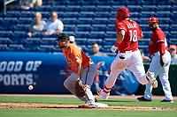 Baltimore Orioles first baseman Chris Davis (19) waits to receive a throw as Lane Adams (18) runs up the first base line during a Grapefruit League Spring Training game against the Philadelphia Phillies on February 28, 2019 at Spectrum Field in Clearwater, Florida.  Orioles tied the Phillies 5-5.  (Mike Janes/Four Seam Images)