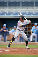 Bradenton Maruaders Travis Swaggerty (12) bats during a Florida State League game against the Charlotte Stone Crabs on August 7, 2019 at Charlotte Sports Park in Port Charlotte, Florida.  Charlotte defeated Bradenton 2-0 in the first game of a doubleheader.  (Mike Janes/Four Seam Images)