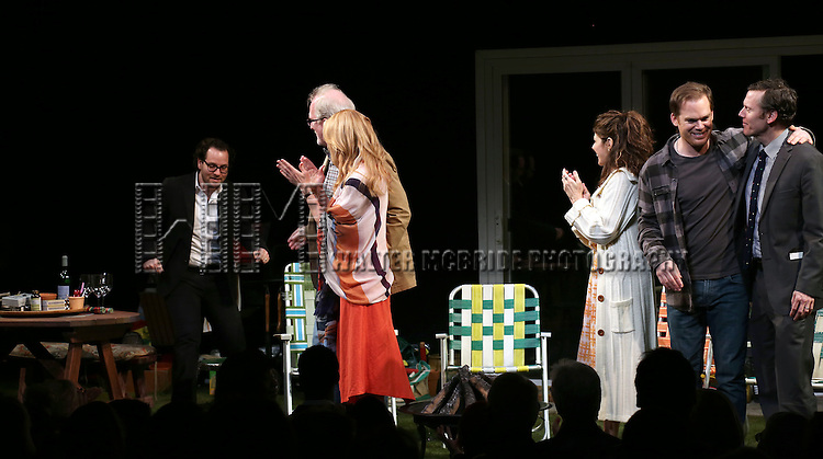 Director Sam Gold, Tracy Letts, Toni Collette, Marisa Tomei, Michael C. Hall<br /> and Playwright Will Eno during the Broadway Opening Night Performance Curtain Call for 'The Realistic Joneses'  at the Lyceum Theatre on April 6, 2014 in New York City.