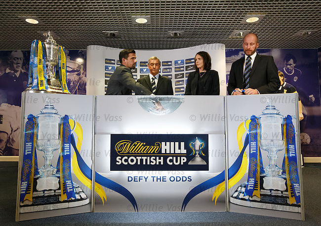 Former Rangers striker Nacho Novo, SFA President Campbell Ogilvie, William Hill's Nicola Frampton and Kenny MacLeod of the SFA make the third round draw for the William Hill Scottish Cup in the Hall of Fame at Hampden today