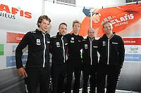 SCHAATSEN: HEERENVEEN: 23-09-2014, Perspresentatie Team Clafis, Niels Mesu, Ingmar Berga, Jorrit Bergsma,  Bob de Vries, ©foto Martin de Jong