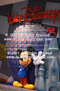 Mickey Mouse Waves I -- Walt Disney Logo, Orlando International Airport, Epcot, Castle, Relief Sculpture Greets Visitors