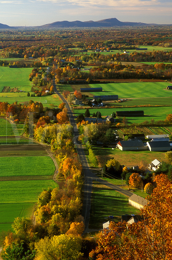South Deerfield, MA, Pioneer Valley, Massachusetts, The Connecticut River Valley, Aerial view of the scenic Pioneer Valley from Mt. Sugarloaf in South Deerfield in the autumn.