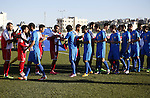 Ahly Al-Khalil football club's players (in red) shake hand with FC Khujand club's players during the football match crucial AFC Champions League Playoff phase at Dura Stadium in the West Bank city of Hebron on Feb. 09, 2016. Mahmoud Wadi claimed the only goal of the game in the 21st minute, when he had the time and space to pick his spot after good work down the right from Khaldun Halman set him up to score from close range. Victory means Ahly Al-Khalil will feature in Group D of this season's continental championship, where they will face Bahrain's Al Muharraq, Fanja from Oman and Syrian side Al Jaish, winners of the inaugural AFC Cup in 2004. Photo by Wisam Hashlamoun