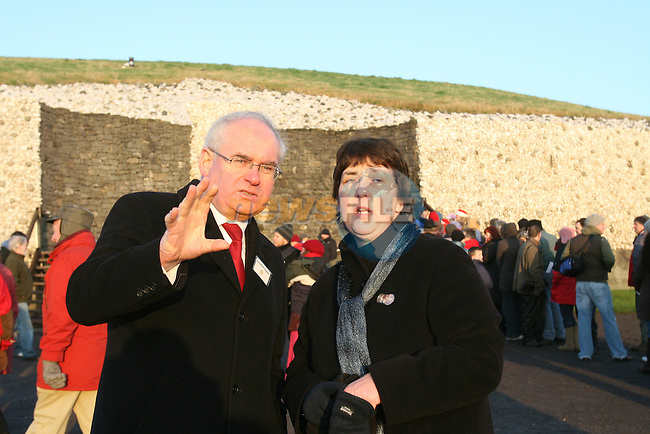 The winter solstice at newgrange in Co Meath, where the sun shines through a roof box to light up the burial chamber. Minister Ahern speaks with Bru Na Boinne manager Clare Tuffy after watching the dawn in Newgrange..Photo: Newsfile/Fran Caffrey.