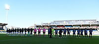 20191022 – OOSTENDE , BELGIUM : illustration picture shows both teams during the line ups before a soccer game between Club Brugge KV and Paris Saint-Germain ( PSG )  on the third matchday of the UEFA Youth League – Champions League season 2019-2020 , thuesday  22 th October 2019 at the Versluys Arena in Oostende  , Belgium  .  PHOTO SPORTPIX.BE | DAVID CATRY