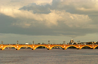 The old Pont de Pierre bridge in Bordeaux on the Garonne River