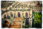 View of the Cathedral and Orange Tree Yard from the top of the Giralda tower, Seville, Spain. Tilted lens used for a shallower depth of field.