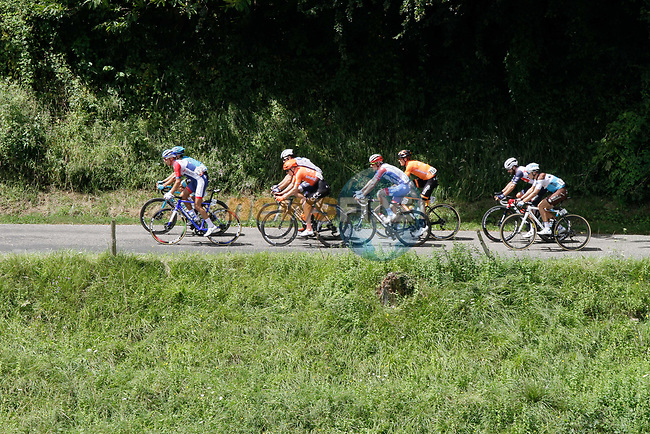 The breakaway including Lilian Calmejane (FRA) Total Direct Energie, Harold Tejada (COL) Astana, Julien Bernard (FRA) Trek-Segafredo, Georg Zimmermann (GER) CCC Team, Joan Bou (ESP) Euskaltel-Euskadi, Matthieu Ladagnous (FRA) Groupama-FDJ, Julien Trarieux (FRA) Nippo-Delko and Benoît Cosnefroy (FRA) AG2R La Mondiale climb the 1st Col during Stage 3 of the Route d'Occitanie 2020, running 163.5km from Saint-Gaudens to Col de Beyrède, France. 3rd August 2020. <br /> Picture: Colin Flockton | Cyclefile<br /> <br /> All photos usage must carry mandatory copyright credit (© Cyclefile | Colin Flockton)