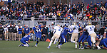 Carson's Eddie Duarte attempts a field goal during the NIAA D-1 Northern Regional title game at Bishop Manogue High School in Reno, Nev., on Saturday, Nov. 29, 2014. Reed won 28-25.<br /> Photo by Cathleen Allison