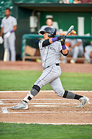 Javier Guevara (6) of the Grand Junction Rockies bats against the Ogden Raptors at Lindquist Field on July 25, 2018 in Ogden, Utah. The Rockies defeated the Raptors 4-0. (Stephen Smith/Four Seam Images)