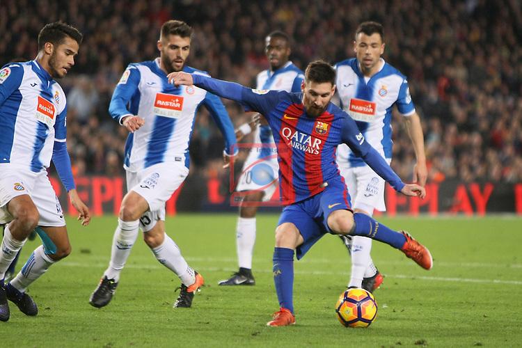 League Santander 2016/2017. Game: 16.<br /> FC Barcelona vs RCD Espanyol: 4-1.<br /> Lionel Messi vs David Lopez.
