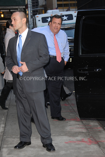 WWW.ACEPIXS.COM . . . . . .February 4, 2013...New York City....Governor Chris Christie arrives to tape an appearance on the Late Show with David Letterman on February 4, 2012  in New York City....Please byline: KRISTIN CALLAHAN - ACEPIXS.COM.. . . . . . ..Ace Pictures, Inc: ..tel: (212) 243 8787 or (646) 769 0430..e-mail: info@acepixs.com..web: http://www.acepixs.com .