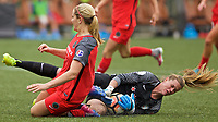 Portland, OR - Saturday April 29, 2017: Lindsey Horan, Alyssa Naeher collide during a regular season National Women's Soccer League (NWSL) match between the Portland Thorns FC and the Chicago Red Stars at Providence Park.