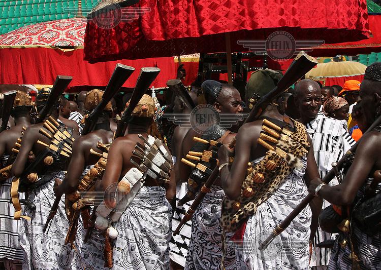 Local chiefs and people gather to celebrate the 10th anniversary of the enstoolment of the Asantehene Otumfuo Nana Osei Tutu II in Kumasi.
