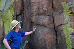 Robbie Scott takes in petroglyphs along John Day River in Oregon.  BLM land in the high desert.