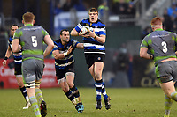Sam Nixon of Bath Rugby receives the ball. Anglo-Welsh Cup match, between Bath Rugby and Newcastle Falcons on January 27, 2018 at the Recreation Ground in Bath, England. Photo by: Patrick Khachfe / Onside Images