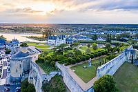 France, Indre-et-Loire (37), Amboise, château d'Amboise et les jardins le soir (vue aérienne)