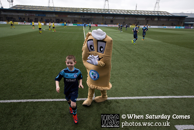 Forfar Athletic 1 Edinburgh City 2, 02/02/2017. Station Park, SPFL League 2. The home club mascot Baxter the Bridie and a mascot on the pitch at Station Park, Forfar before the SPFL League 2 fixture between Forfar Athletic and Edinburgh City. It was the club's sixth and final meeting of City's inaugural season since promotion from the Lowland League the previous season. City came from behind to win this match 2-1, watched by a crowd of 446. Photo by Colin McPherson.
