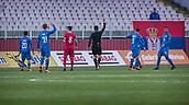 27th March 2018, Karadjorde Stadium, Novi Sad, Serbia; Under 21 International Football Friendly, Serbia U21 versus Italy U21; The referee gives a yellow card to Midfielder Nicolo Barella of Italy