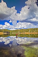 Fly fisherman on Yellowstone River with reflection and clouds. Yellowstone National Park, Wyoming