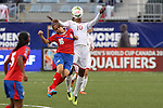 24 October 2014: Tasha St Louis (TRI) (10) and Katherine Alvaredo (CRC) (16). The Costa Rica Women's National Team played the Trinidad & Tobago Women's National Team at PPL Park in Chester, Pennsylvania in a 2014 CONCACAF Women's Championship semifinal game, which serves as a qualifying tournament for the 2015 FIFA Women's World Cup in Canada. Costa Rica advanced to the championship game, and qualified for next year's Women's World Cup, by winning the penalty shootout 3-0 after the game ended in a 1-1 tie after double overtime.
