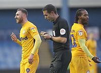 Preston North End's Louis Moult and  Preston North End's Daniel Johnson with ref David Coote<br /> <br /> Photographer Mick Walker/CameraSport<br /> <br /> The EFL Sky Bet Championship - Sheffield Wednesday v Preston North End - Saturday 22nd December 2018 - Hillsborough - Sheffield<br /> <br /> World Copyright &copy; 2018 CameraSport. All rights reserved. 43 Linden Ave. Countesthorpe. Leicester. England. LE8 5PG - Tel: +44 (0) 116 277 4147 - admin@camerasport.com - www.camerasport.com