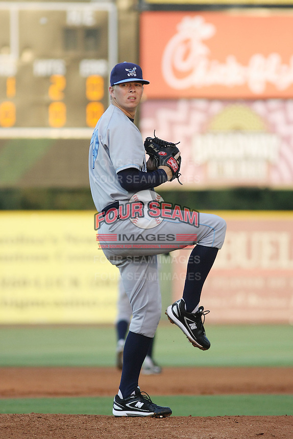 Wilmington Blue Rocks pitcher John Lamb #29 pitching during a game vs. the Myrtle Beach Pelicans at BB&T Coastal Field in Myrtle Beach,SC on July 21, 2010.   Wilmington defeated Myrtle Beach by the score of 3-2.  Photo By Robert Gurganus/Four Seam Images