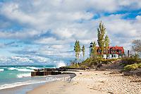 64795-00812 Point Betsie Lighthouse on Lake Michigan, Benzie County, Frankfort, MI